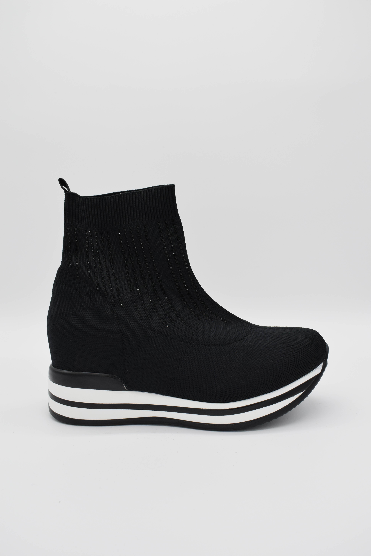 Sneaker schwarz mit Glitzersteinen