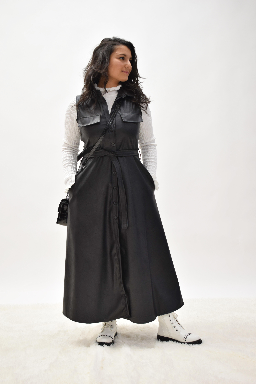 Kunstleder Mantel/Kleid schwarz