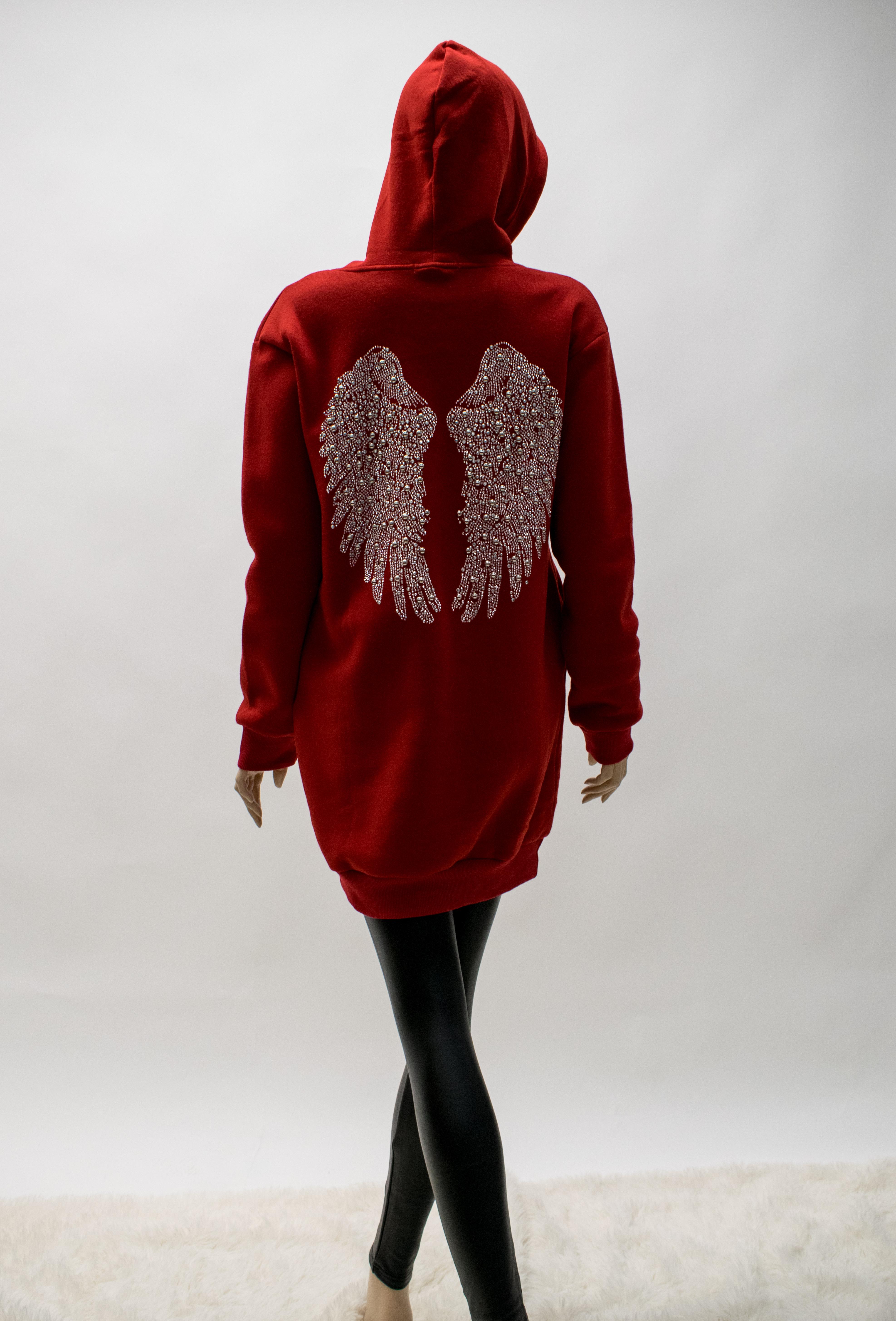 Langer Hoodie mit Engelflügel Backprint