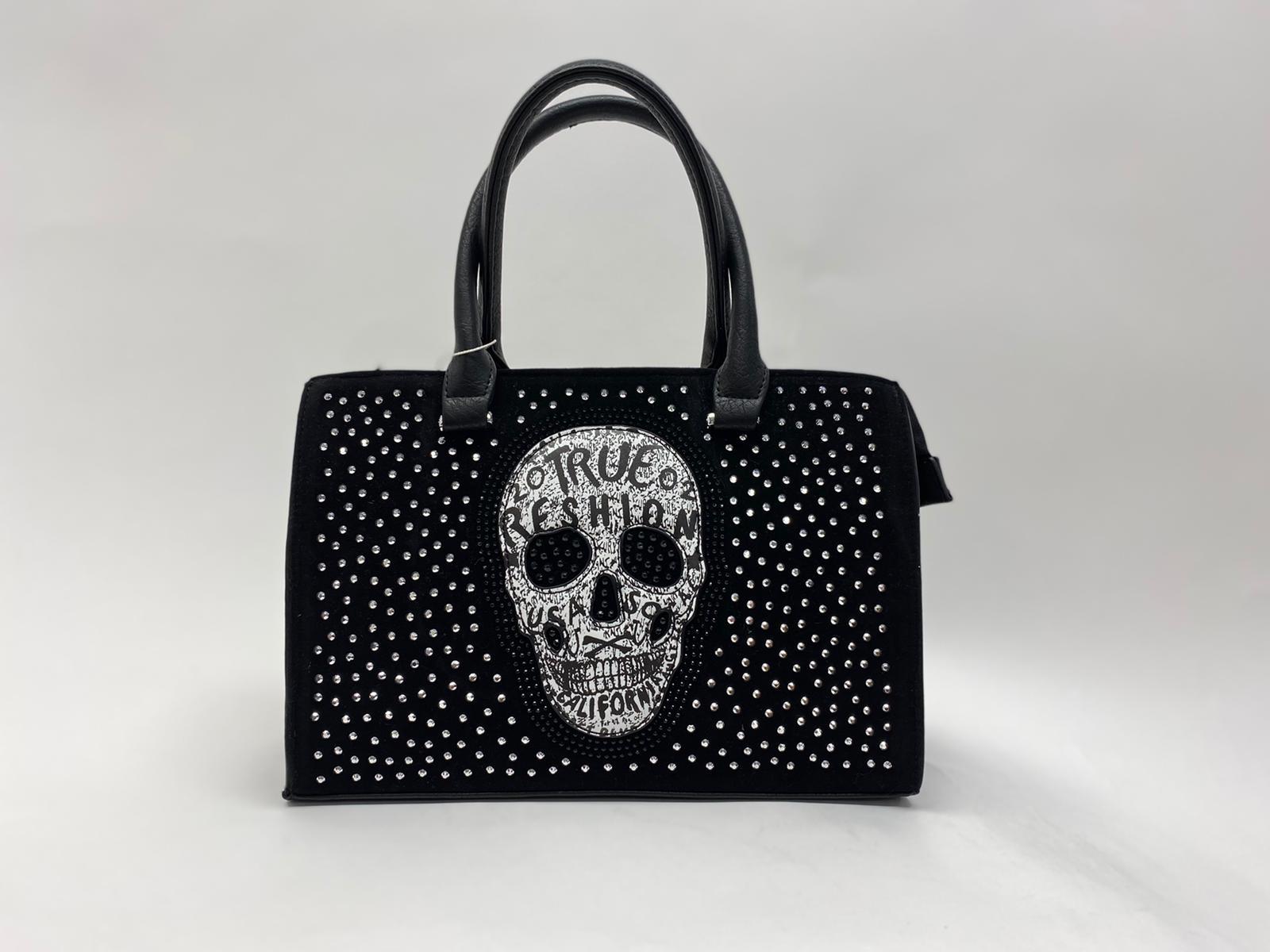 Handtasche mit Totenkopf und Strasssteinen