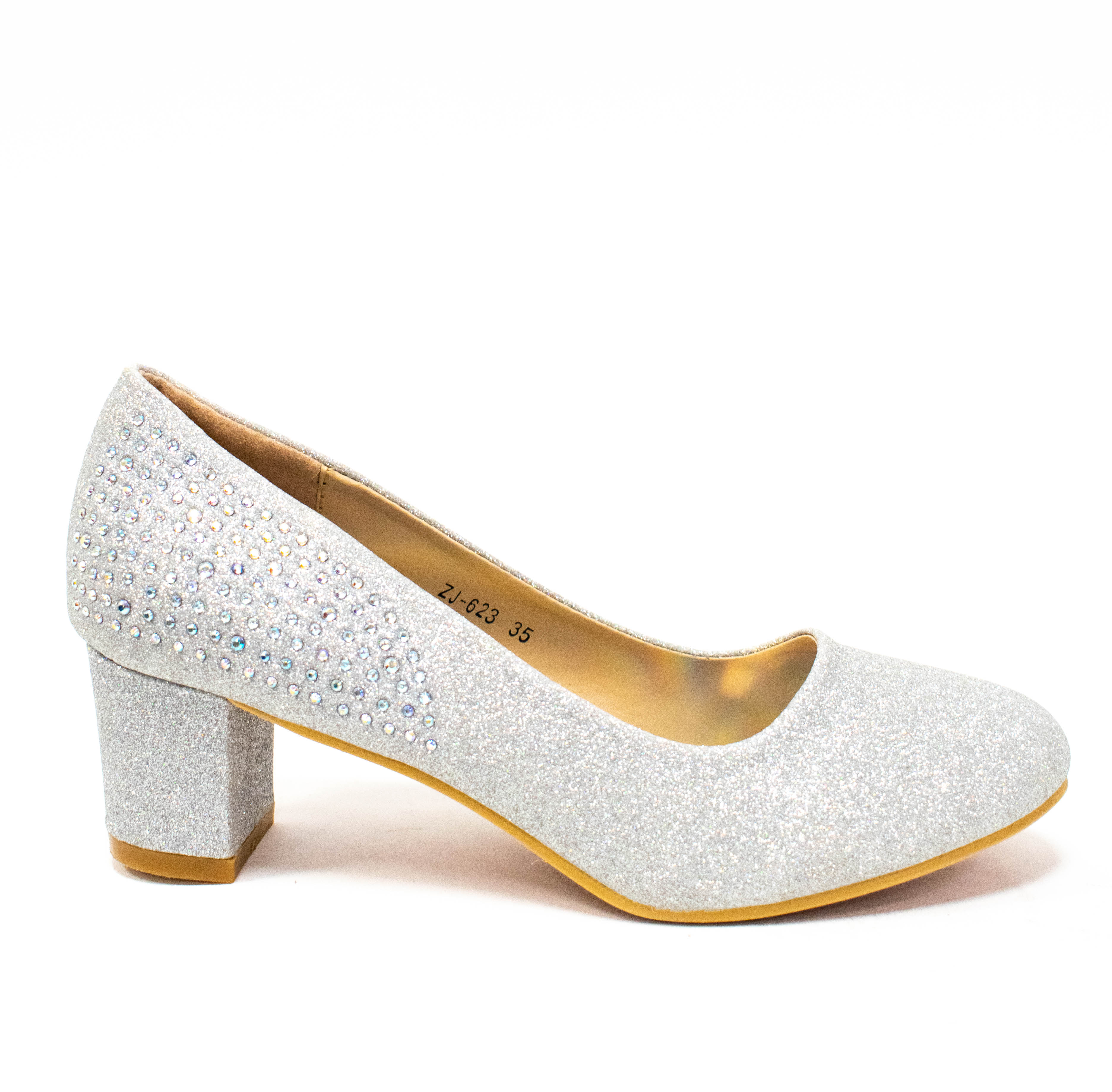 Silberer Schuh mit Glitzer und Strass