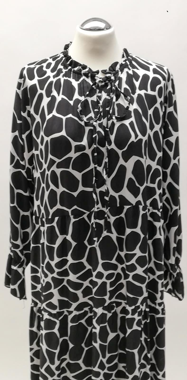 Kleid lang  schwarz/weiß
