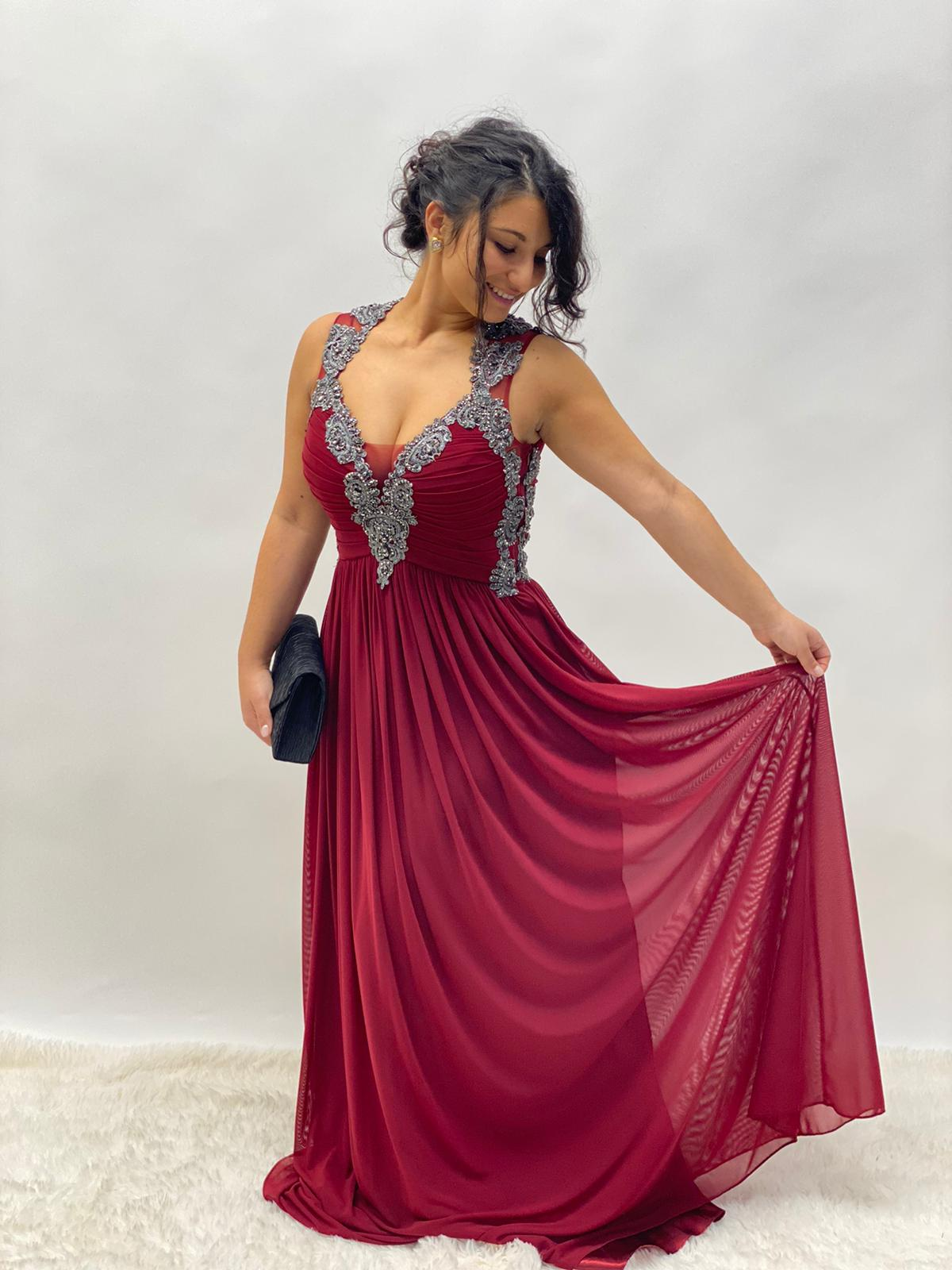 Abendkleid Bordeaux Lang Lila