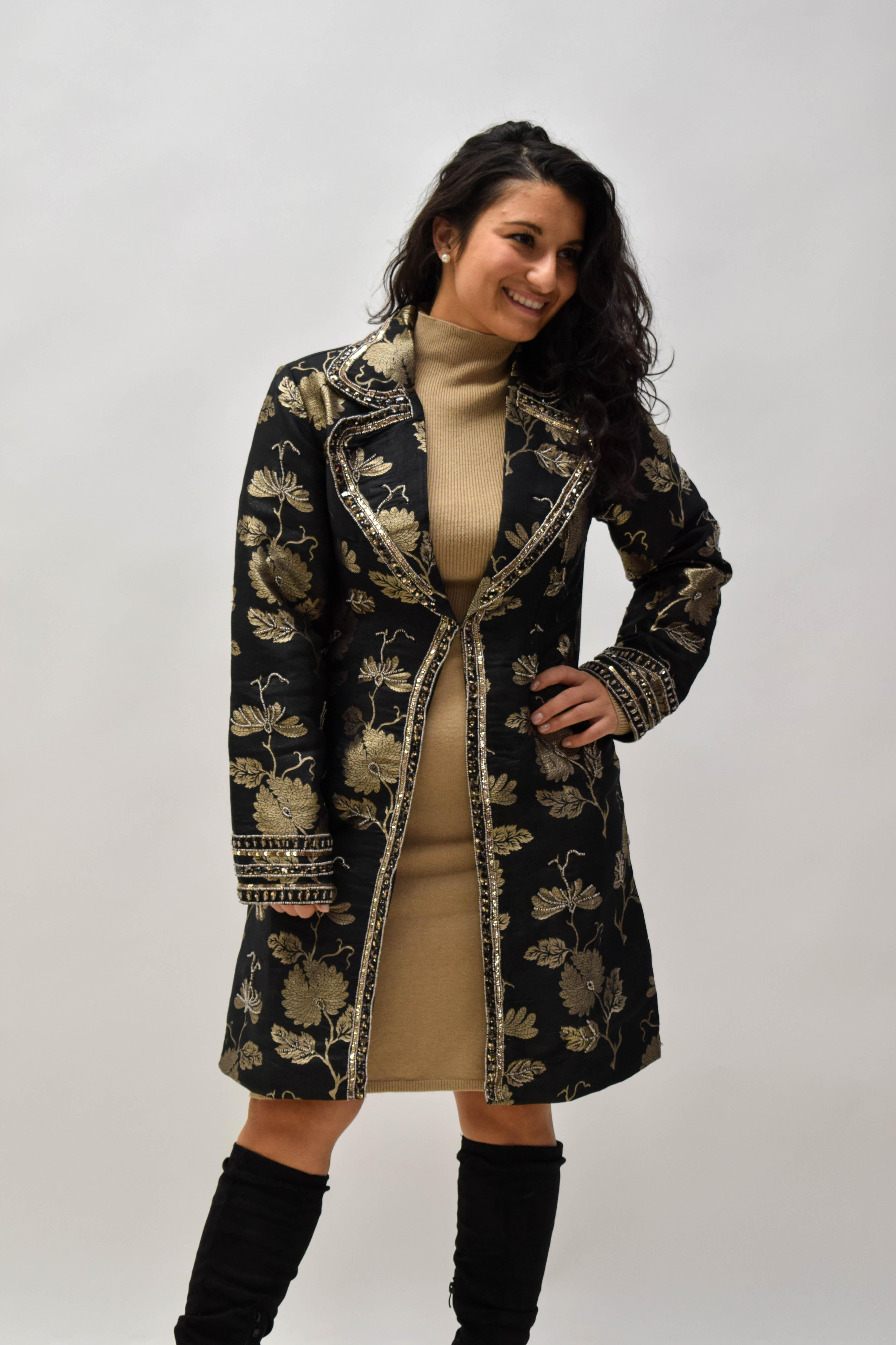Mantel gold/schwarz