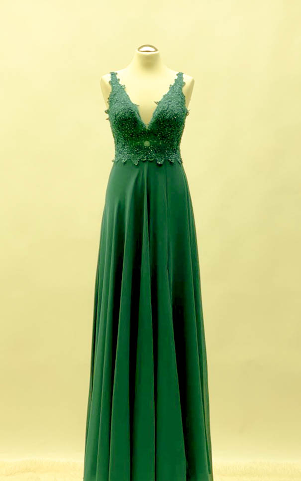Abendkleid in Tannengrün