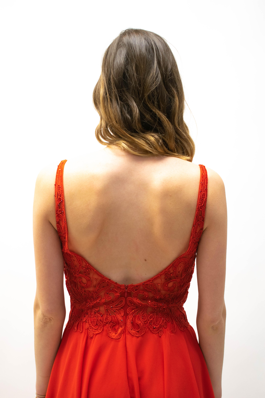 Kurzes Abendkleid mit Blumenmuster in Rosa, Rot & Navyblue