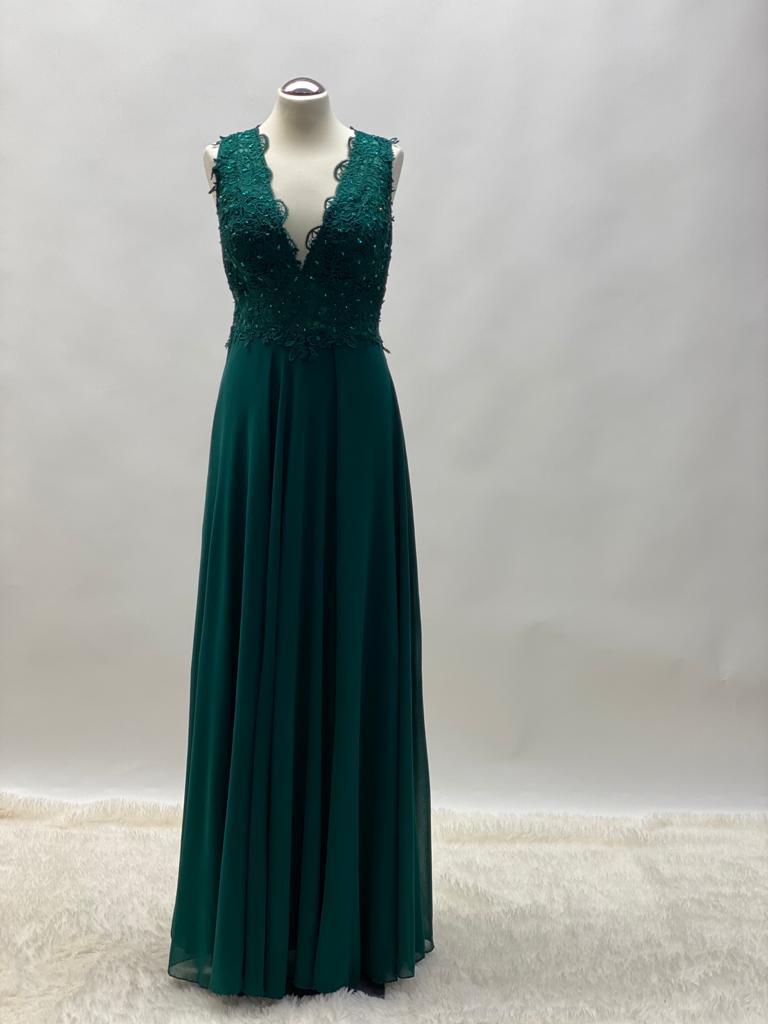Abendkleid Chiffon Tannengrün