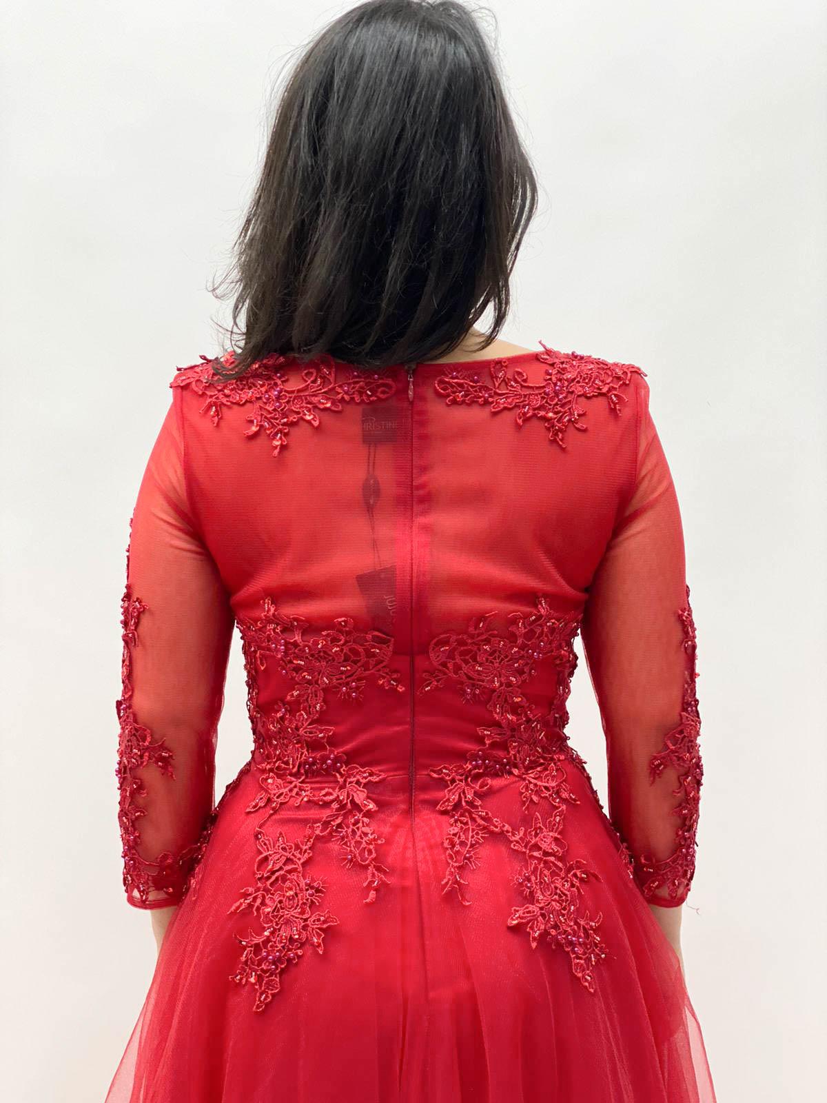 Langes Kleid Tüll mit Arm Bordeux