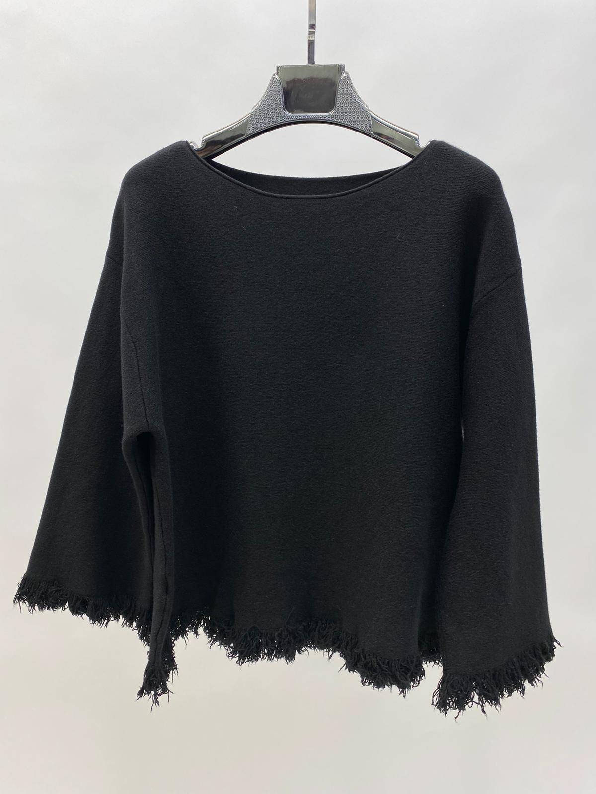 Fransen Pullover schwarz