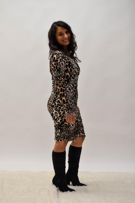 Kleid Samt-Optik mit Leomuster