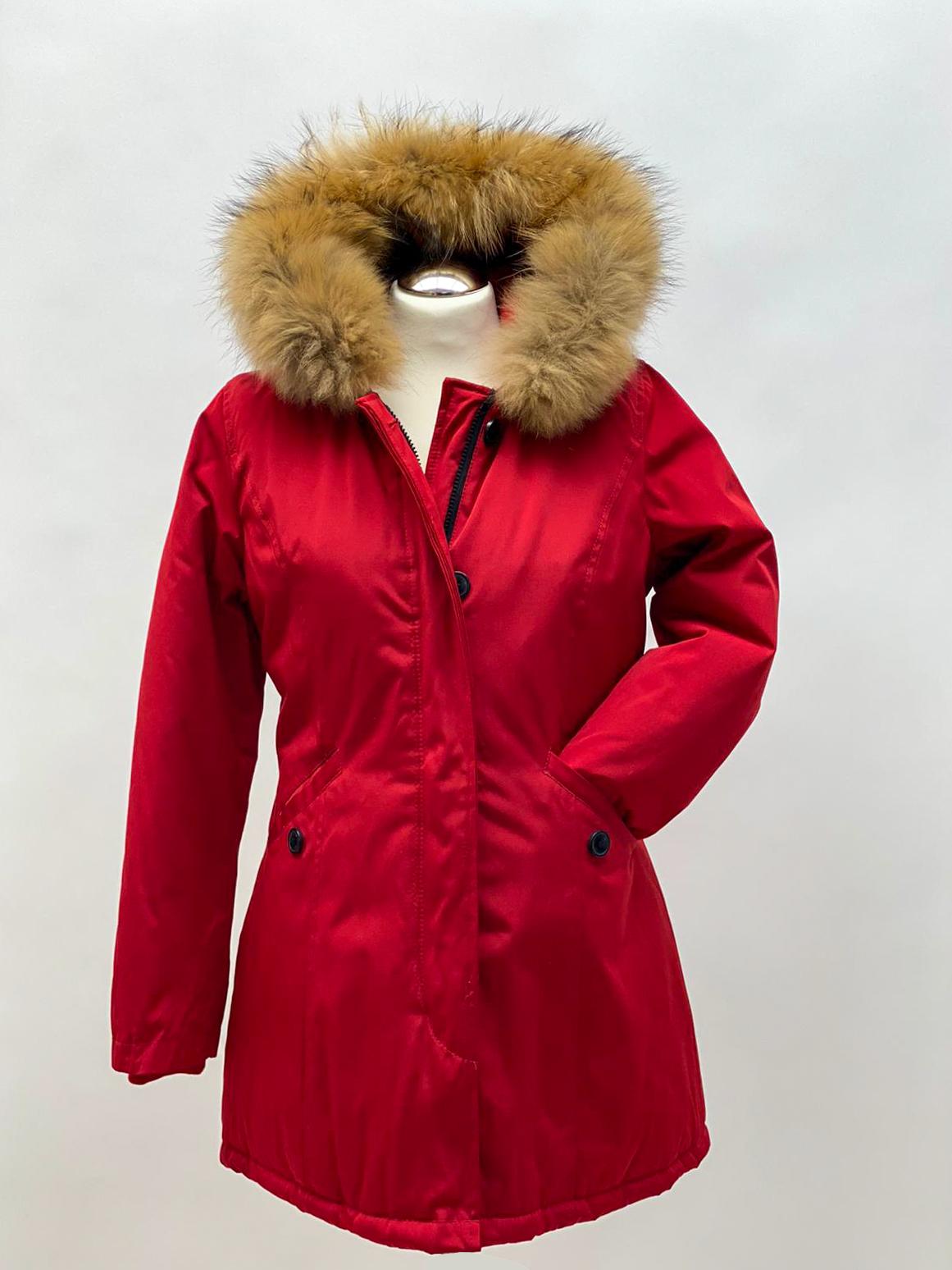 Winterjacke rot Echtpelz