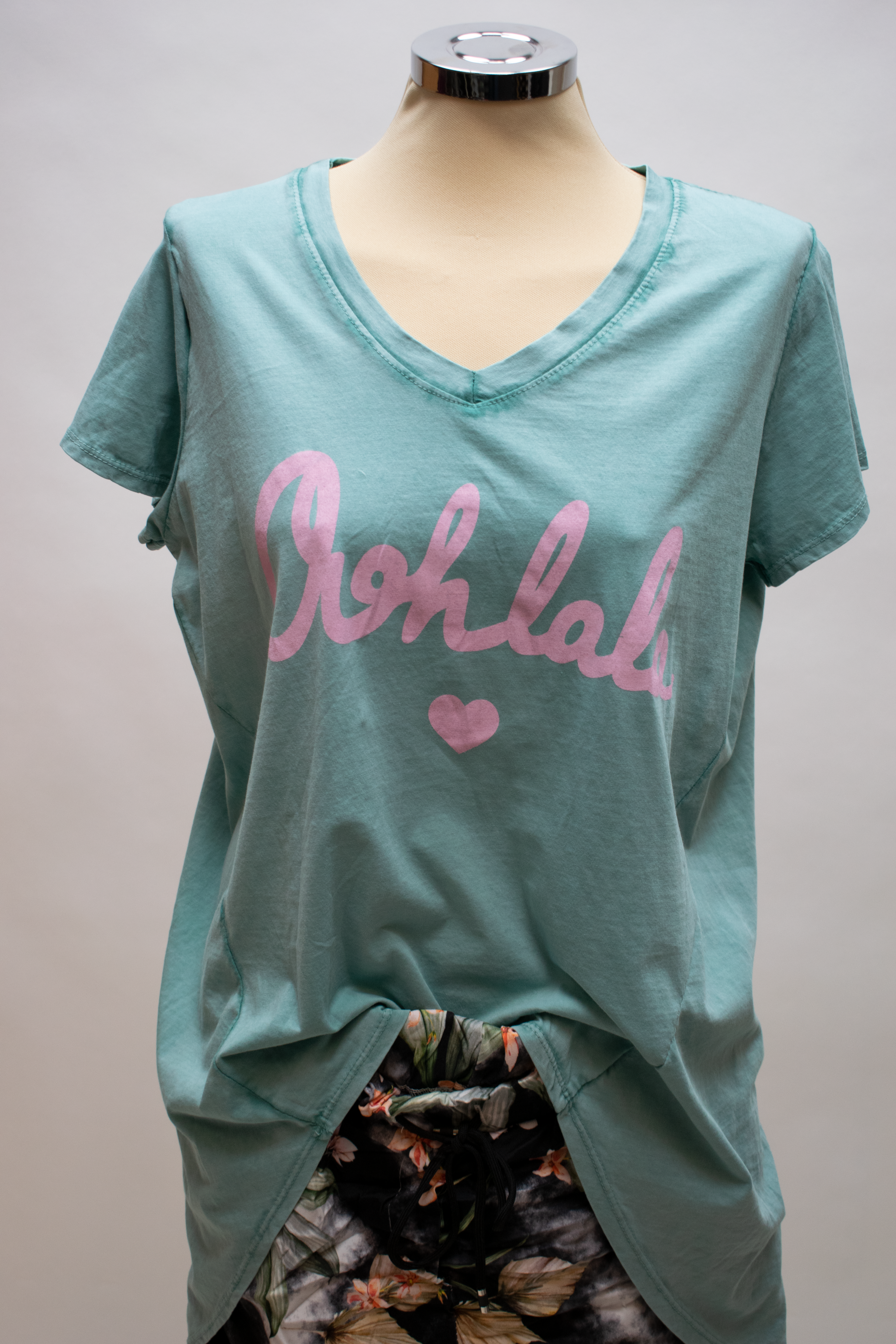 Langes T Shirt mit Oohlala Print in Mint