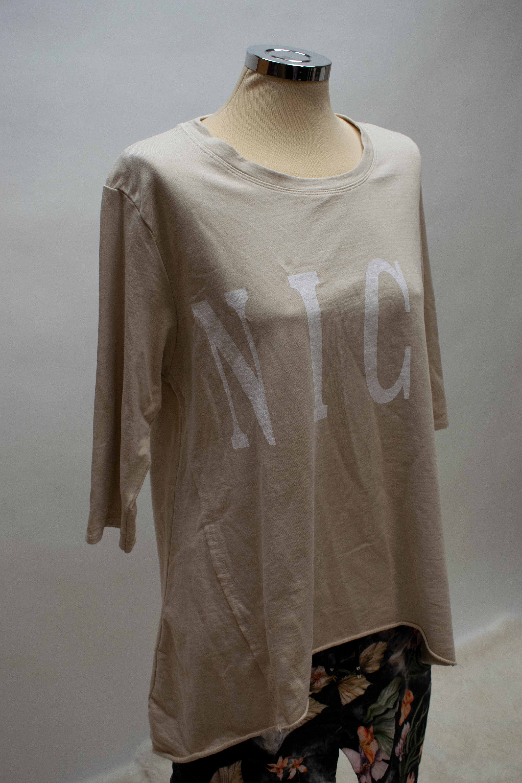 3/4 Arm Strick T Shirt mit NICE Print in Beige