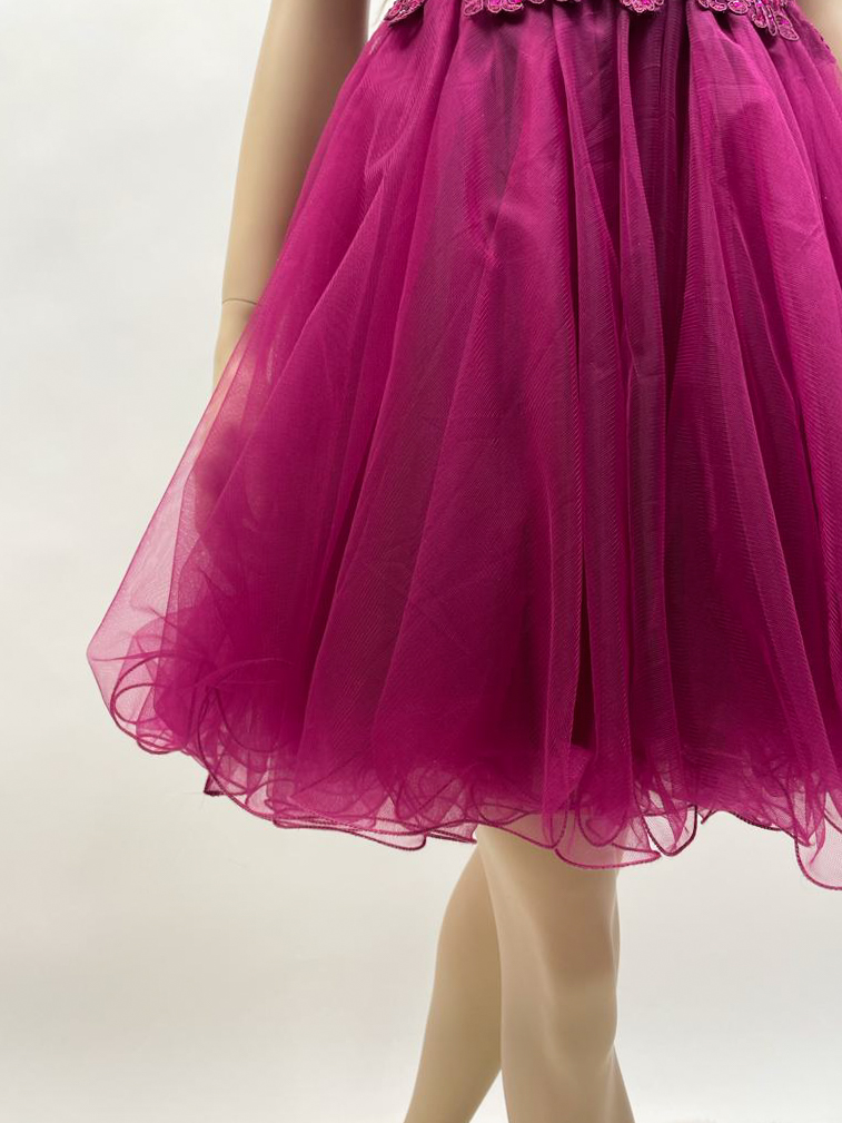 Kurzes Kleid in Navyblau, Rot, Tannengrün, Pink & Rosa