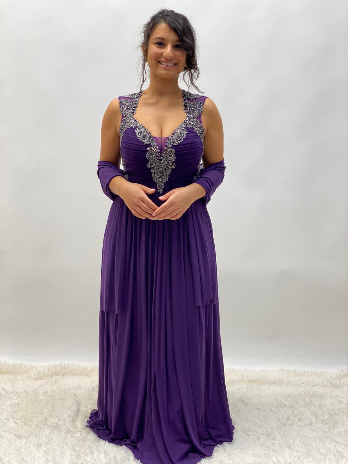Abendkleid lang Lila