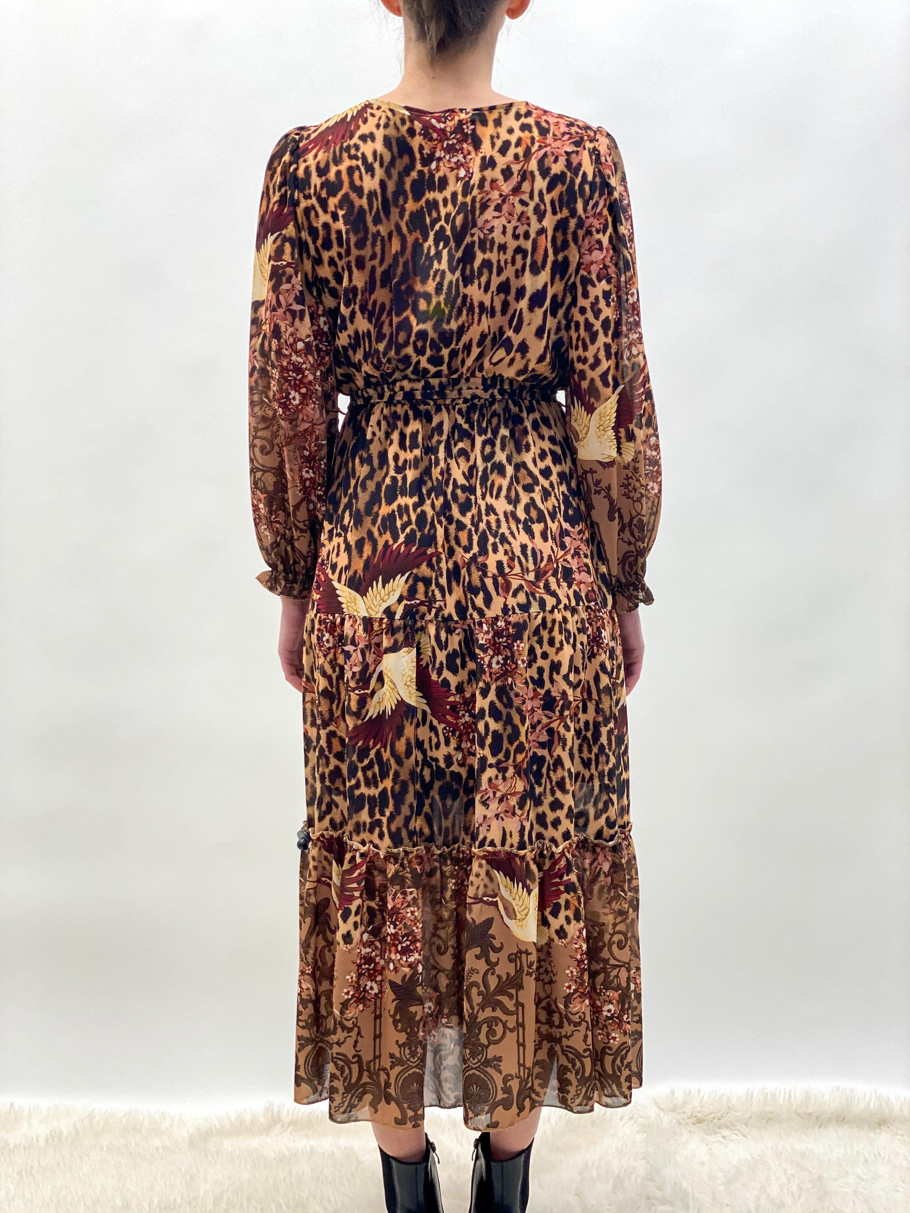 Kleid Chiffon lang brown