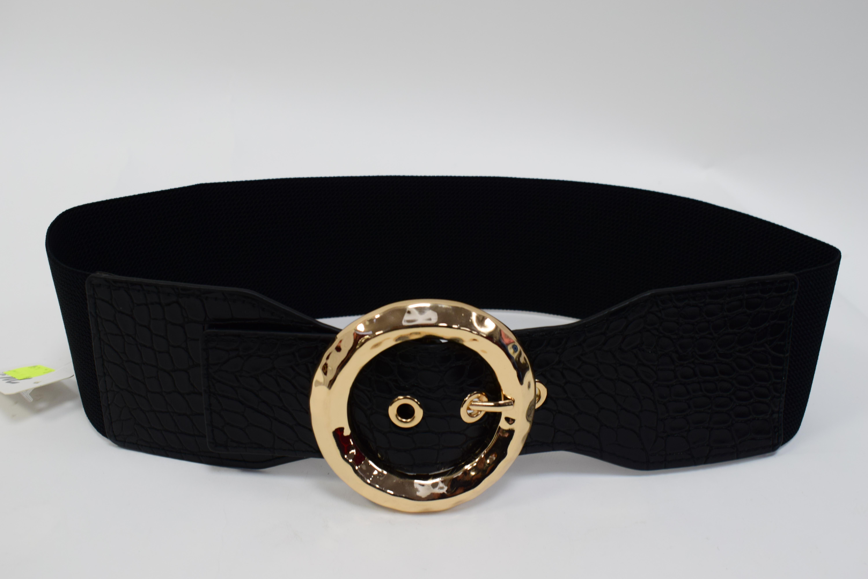 Stretch Gürtel Kroko Schwarz/Gold