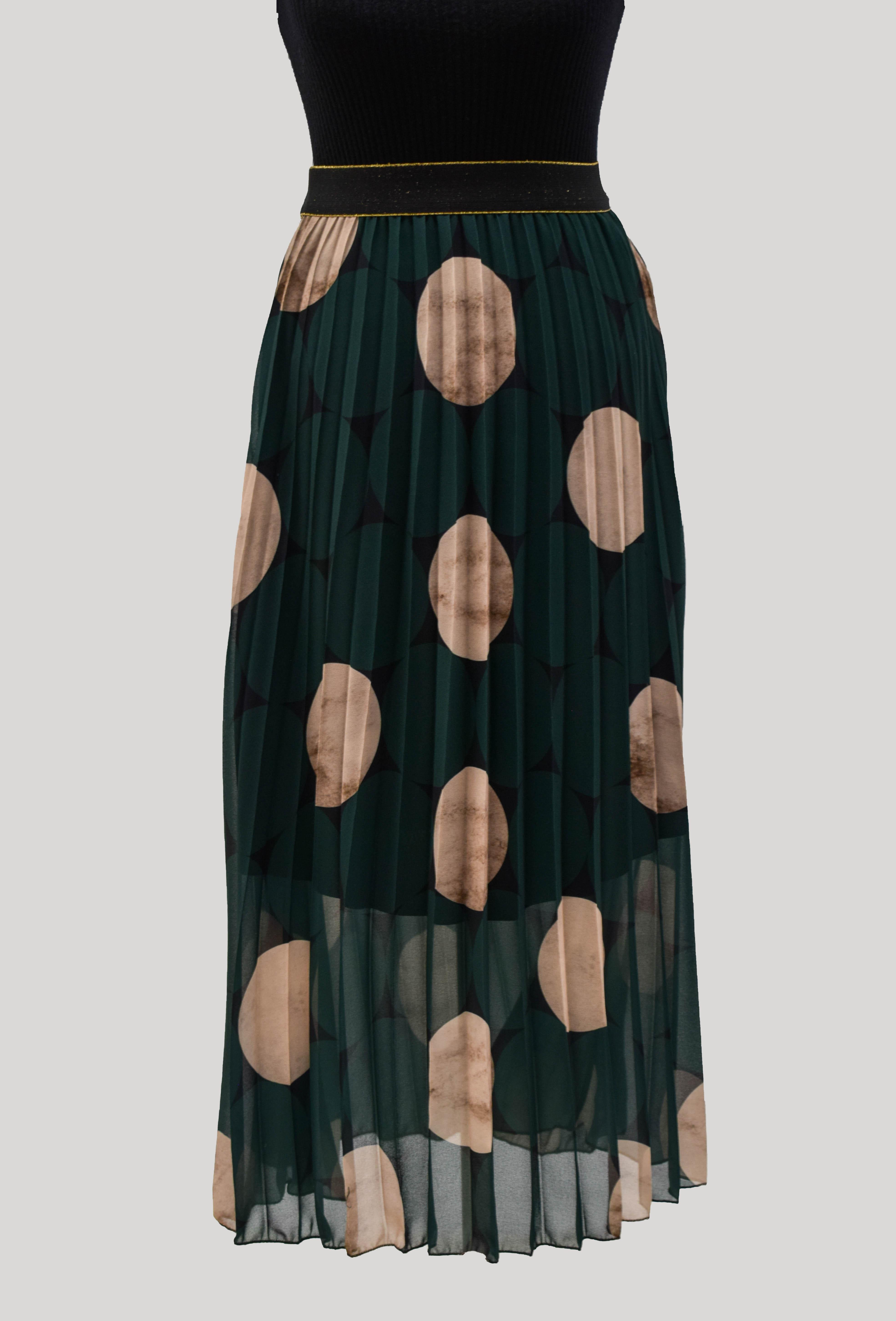 Faltenrock dunkelgrün mit Kreisen
