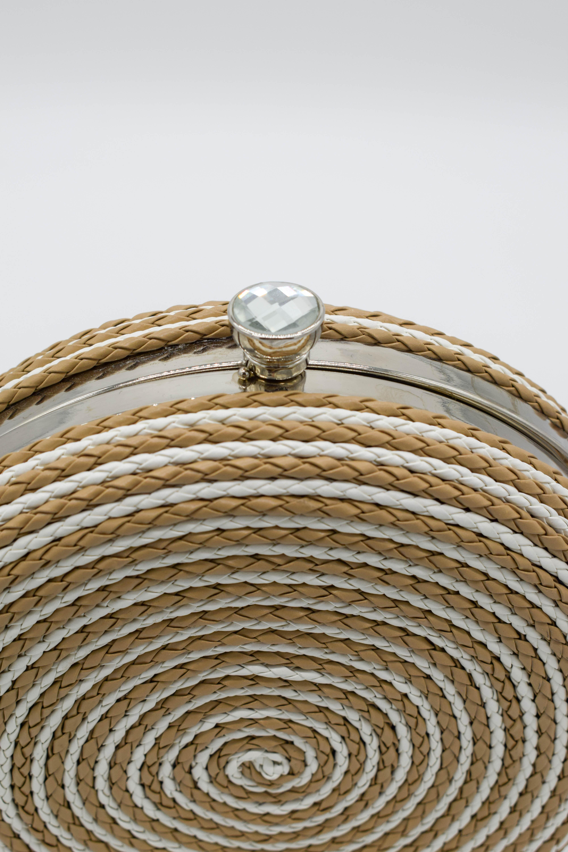 Runde Tasche Kordel-Optik beige