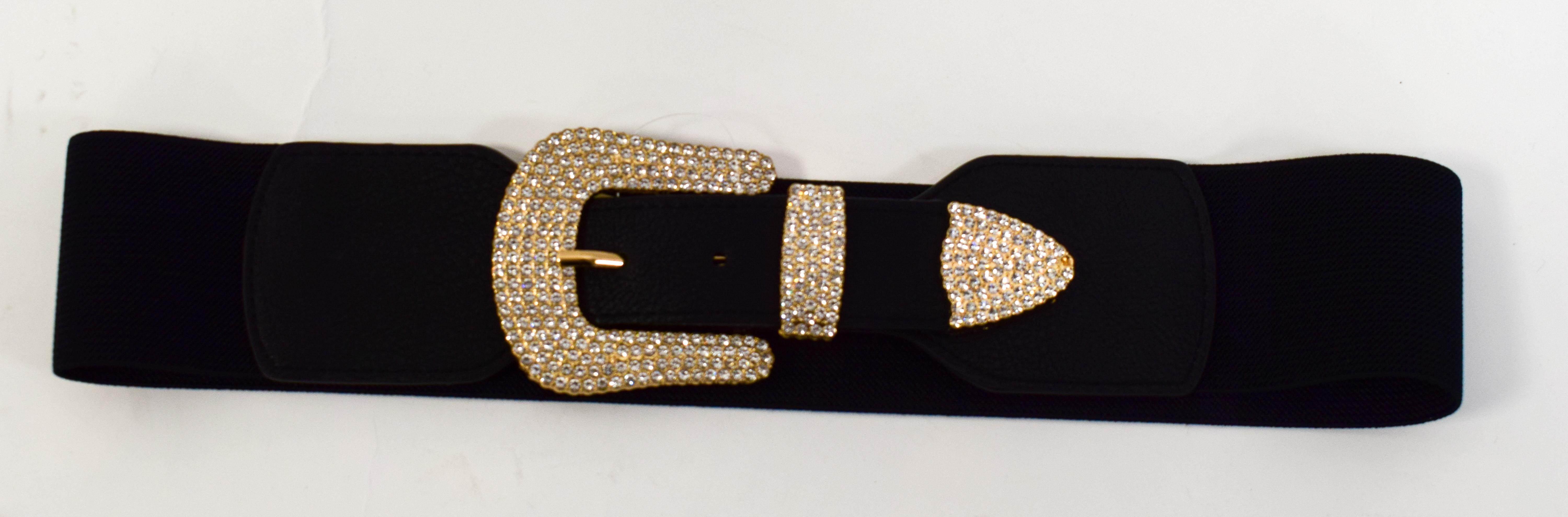 Stretch Gürtel mit Gold Schnalle