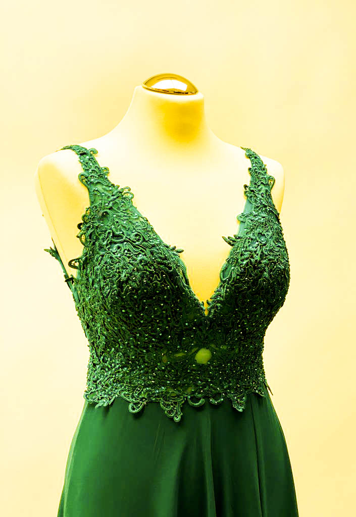 Abendkleid lang Chiffon Tannengrün