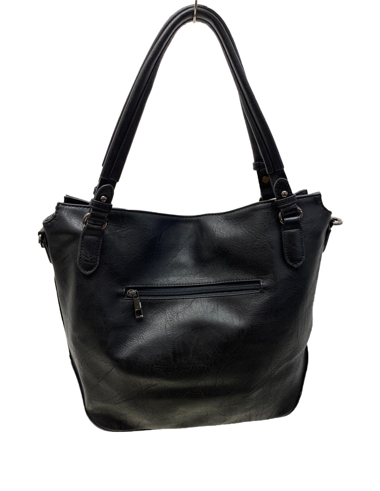 Handtasche mit Totenkopf/Lederoptik und Strass